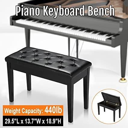 Fine Yaheetech Black Modern Luxurious Piano Keyboard Bench Stool Solid Wood Frame Leather Padded Cushion With Music Storage Compartment Unadjustable 2 Creativecarmelina Interior Chair Design Creativecarmelinacom