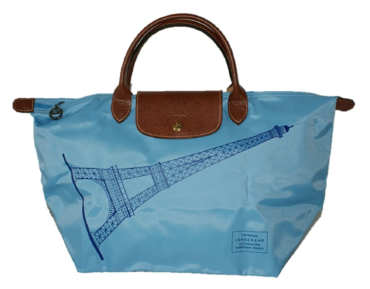 Longchamp Women Limited Edition Eiffel Tower Le Pliage Short Handle Bag, Azure: Handbags: Amazon.com