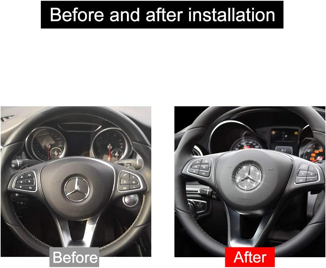 AEEIX Compatible Steering Wheel Logo Caps for Mercedes Benz Accessories Parts Emblem Badge Bling Decals Covers Interior Decorations W205 W212 W213 C117 C E S CLA GLA GLK Class 49mm