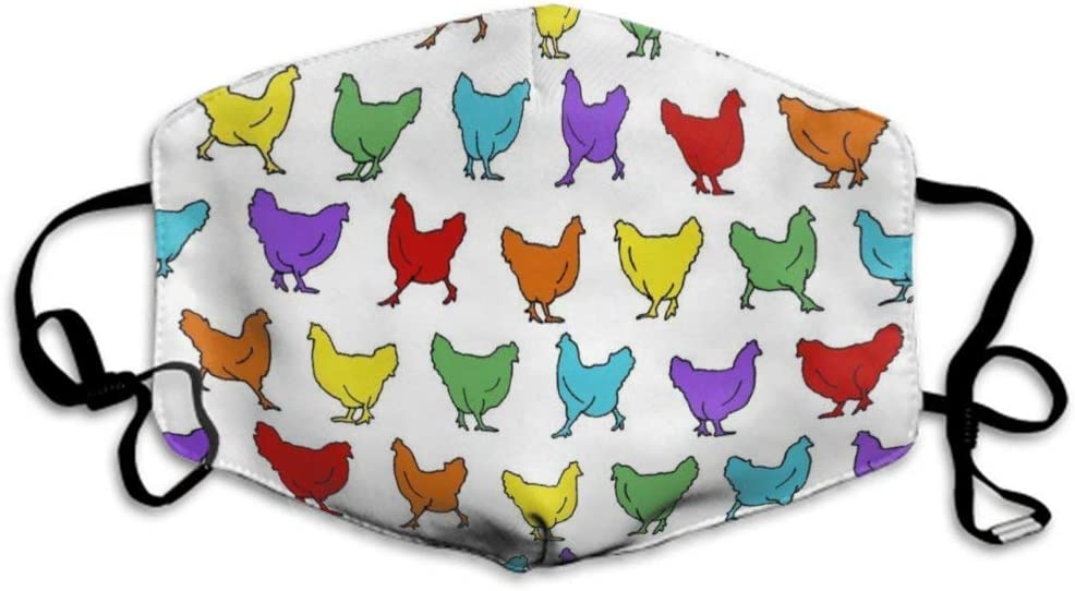 Ma-scarillas Unisex Safety Lavable Reutilizable Revestimiento de protección respiratoria para Guardapolvos Boca de gallinas, gallinas Chicken Rainbow