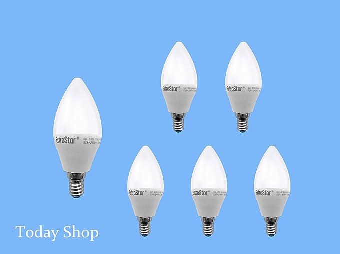 Bombillas led E14, 6 W-48 W, luz blanca fría de 6500 K