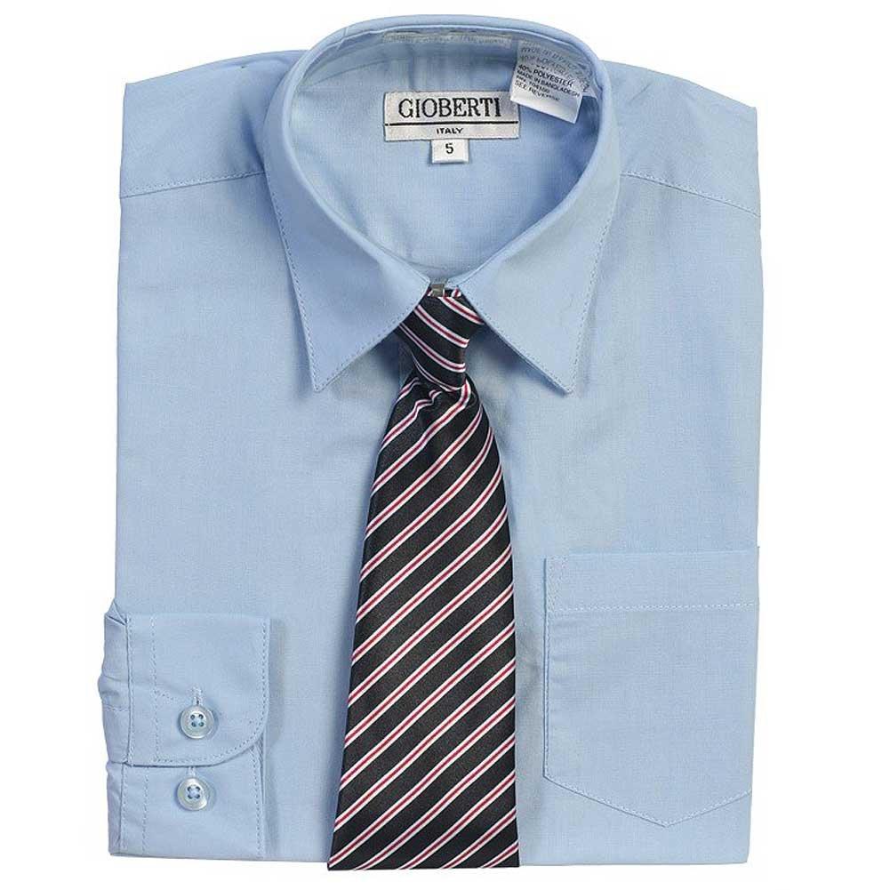 Amazon Light Blue Button Up Dress Shirt Striped Tie Set Toddler