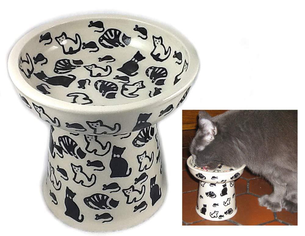 Polish Pottery Raised Ergonomically Correct Cat Dry Food Dish Water Bowl KOTC Cats & Mice by Poughkeepsie Polish Pottery