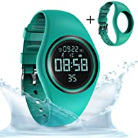 synwee Pedometer Smart Watch IP68 Waterproof Sport Wristwatch Fitness Tracker Step Distance Calorie Alarm Clock Timer Function Kid Teenager Adult