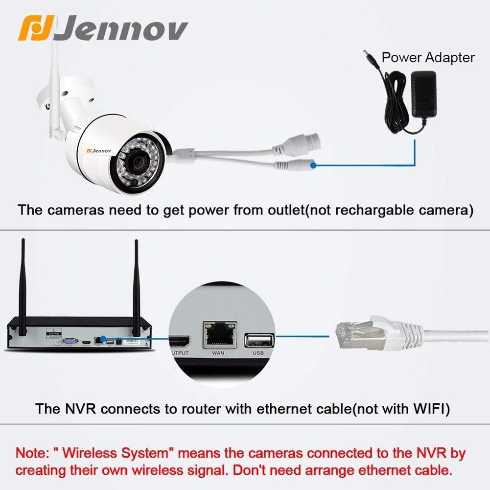 Sistema De Cámaras De Seguridad Inalámbrico 8 Canales WiFi Video Casero Vigilancia con 960P Cámaras De Red para Exteriores Detección De Movimiento Control ...