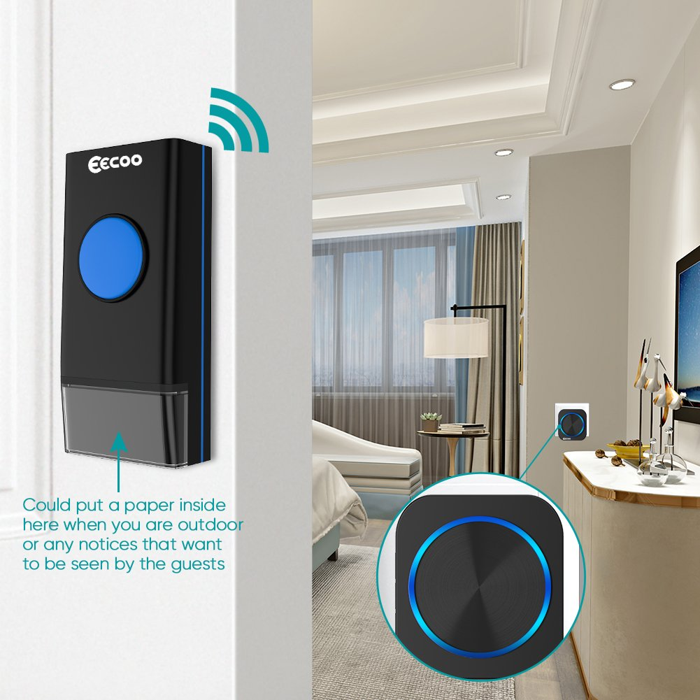 Wireless Doorbell Chime Kit, EECOO Outdoor Waterproof Push Button Door Bell Ring, 2 Lighted Plugin Receivers and 1 Remote Button Transmitter with Battery with 58 Chimes Melodies, 1000ft Long Range Black Bells, 4 Working Modes