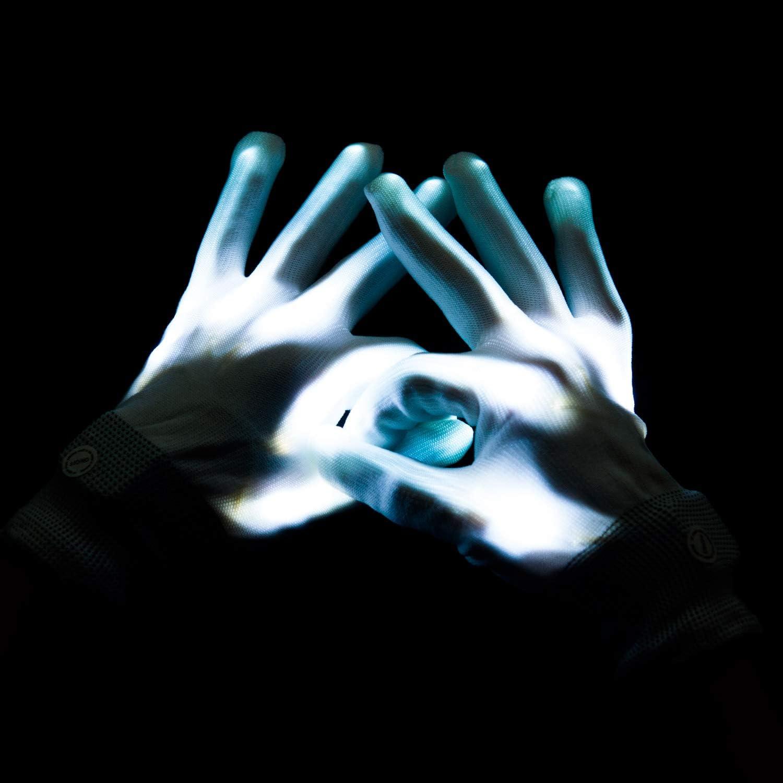 Blau Lychee LED Leucht Handschuhe f/ür Kinder /& Erwachsene,6 Blinkmodie,Skeleton Leuchtende Handschuhe Party //Tanzen//Weihnacht//Halloween//Clubs