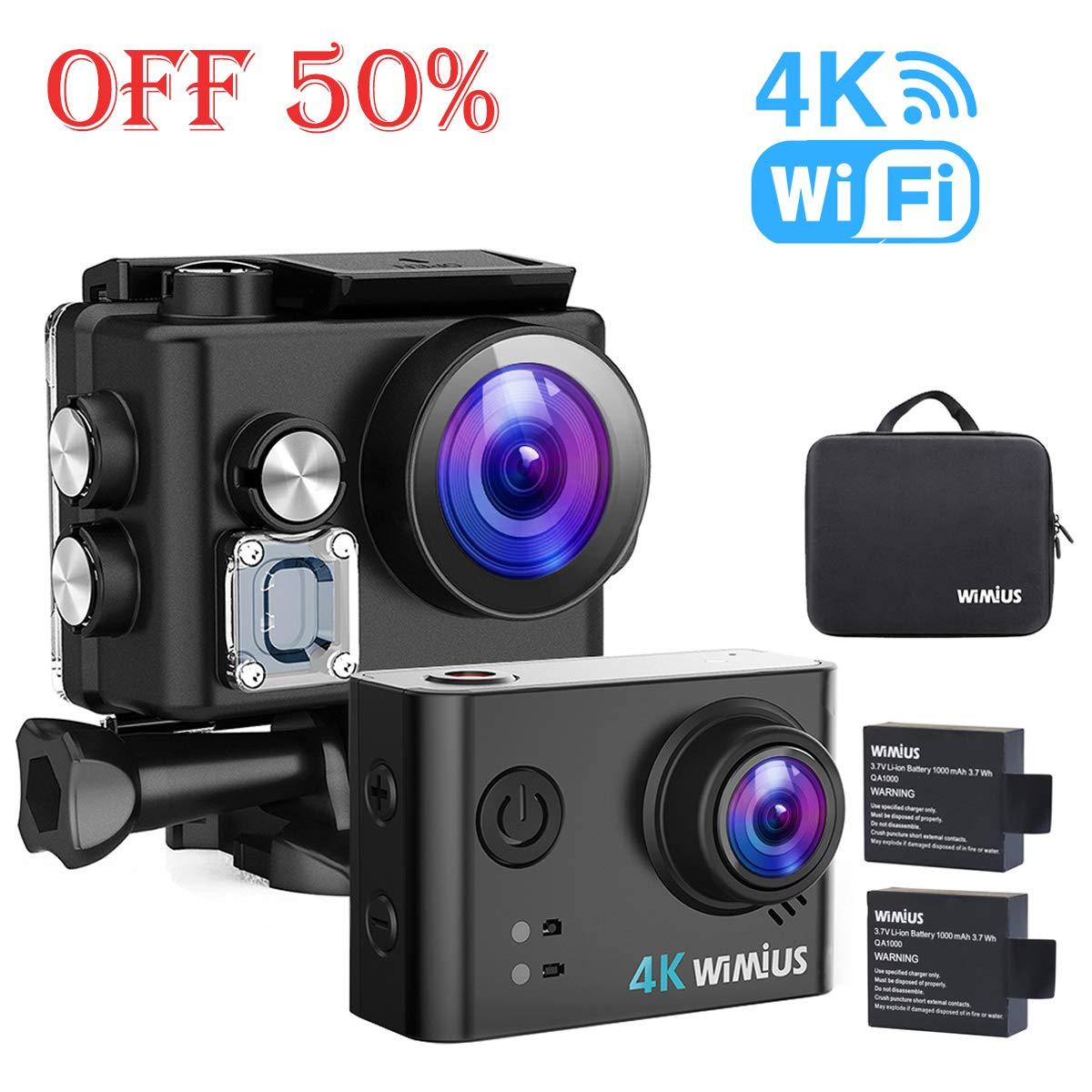 WiMiUS L2 4K Actioncam WiFi Action Cam HD 1080P Unterwasserkamera 12MP Sport Action Camera Kamera Wasserdichte Helmkamera 2,0 Zoll 170 ° Weitwinkel mit 2 Akkus (Schwarz L2)
