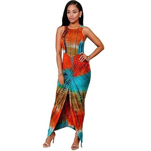 7fe8f85ce452 Ankola Women 3D Digital Print Bodycon Slim Split Sleeveless Round Neck  Party Maxi Long Dress (