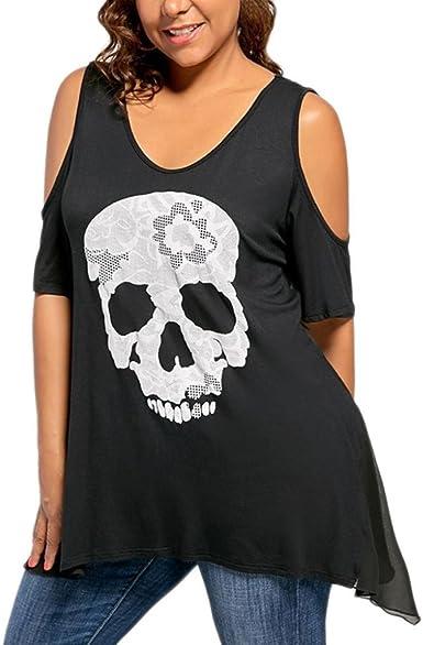 FAMILIZO Camisetas Mujer Verano Blusa Mujer Elegante Camisetas Mujer Manga Corta Algodón Camiseta Mujer Camisetas Mujer Fiesta Camisetas Sin Hombros Mujer Camisetas Mujer Tallas Grandes: Amazon.es: Ropa y accesorios