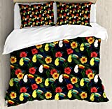 Watercolor Queen Size Duvet Cover Set by Ambesonne, Toucan Birds and Hibiscus Flowers Tropical Exotic Hawaii Flora and Fauna Cartoon, Decorative 3 Piece Bedding Set with 2 Pillow Shams, Multicolor