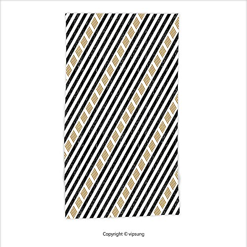 Vipsung Microfiber Ultra Soft Hand Towel-Abstract Square And Straight Stripes With Grunge Effects Artful Modern Tribal Graphic Art Gold Black For Hotel Spa Beach Pool Bath (Cynthia Storage Bed)