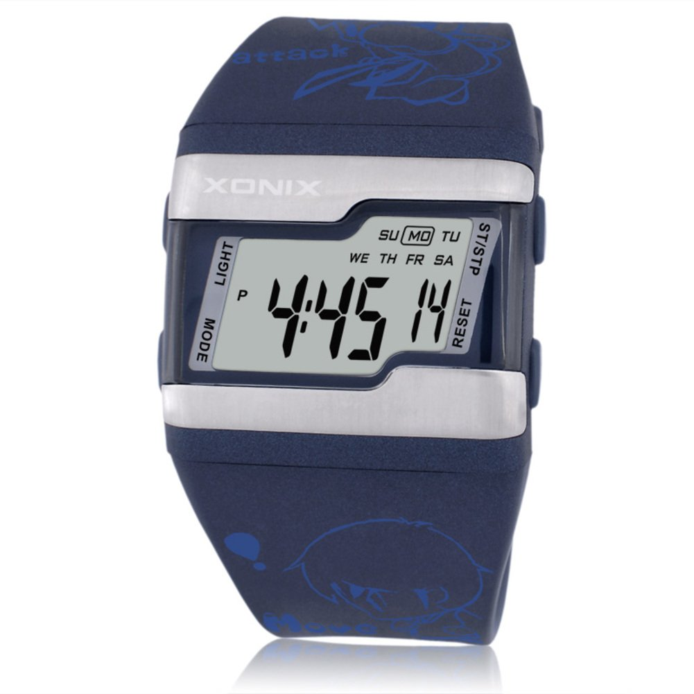 Children's large square face jelly watch,Multi-function digital electronic Led 100 m waterproof calendar alarm stopwatch girls or boys fashion wristwatch-D