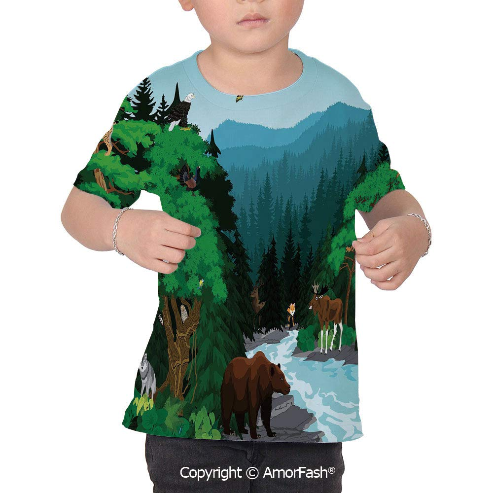 Cabin Decor Childrens Summer Casual T Shirt Dresses Short Sleeve,Evening in Bea