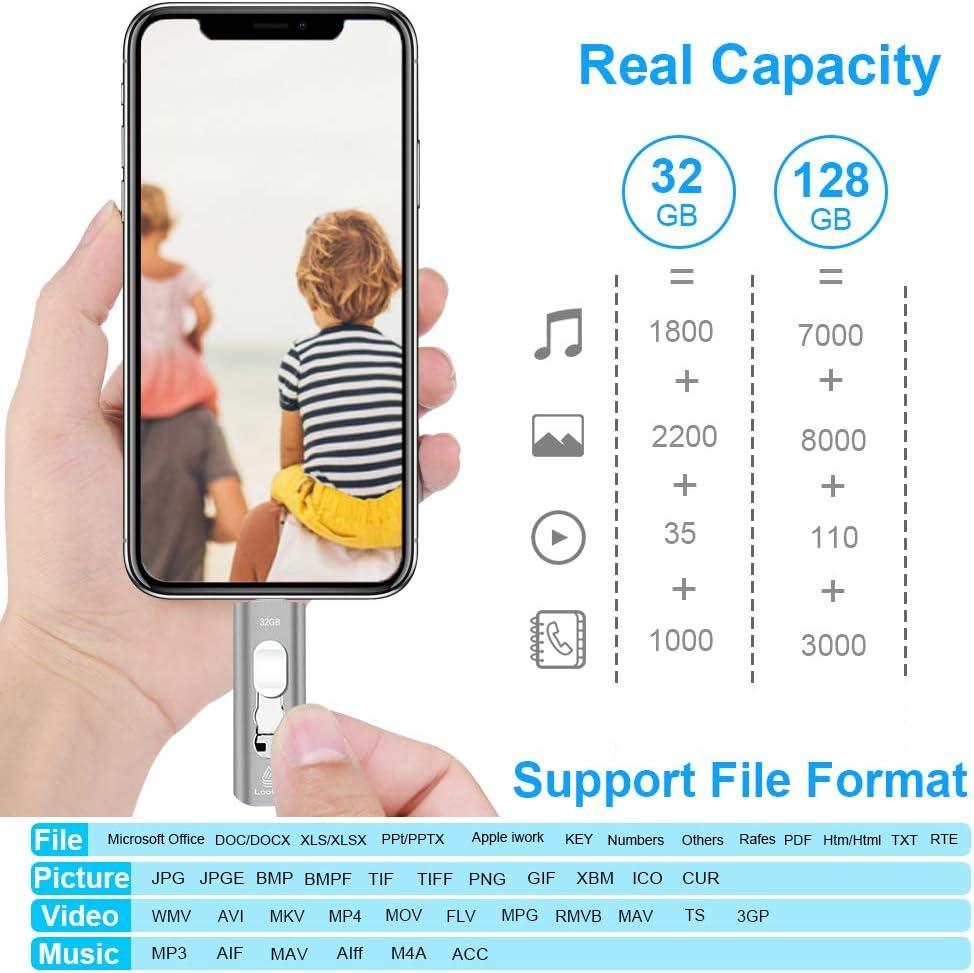 Looffy Pendrive 3.0 32gb per iphone ipad 4 in 1 Memoria USB per Android Type C Chiavetta USB 32gb pour Smartphone Ordinateur