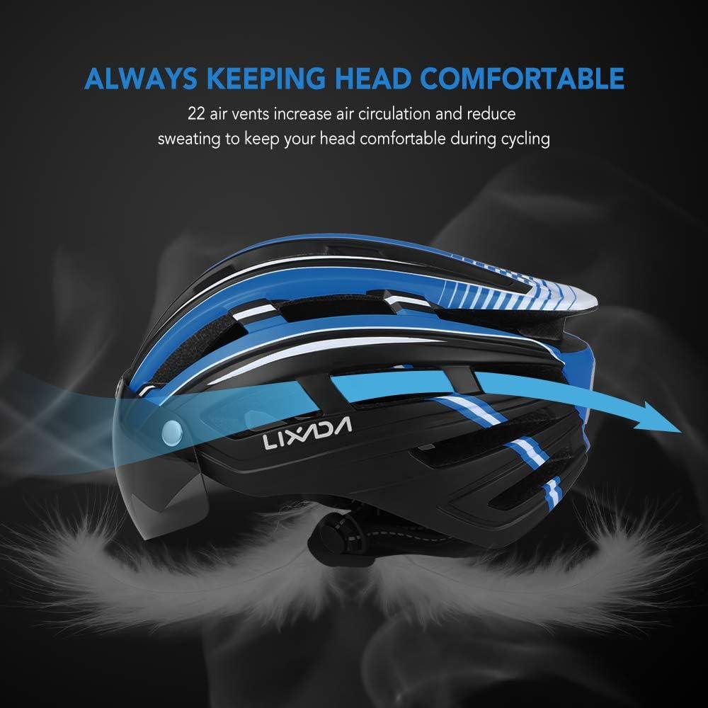 Lixada Mountainbike Helm Motorradhelm mit R/ücklicht abnehmbares magnetisches Visier UV-Schutz f/ür M/änner und Frauen
