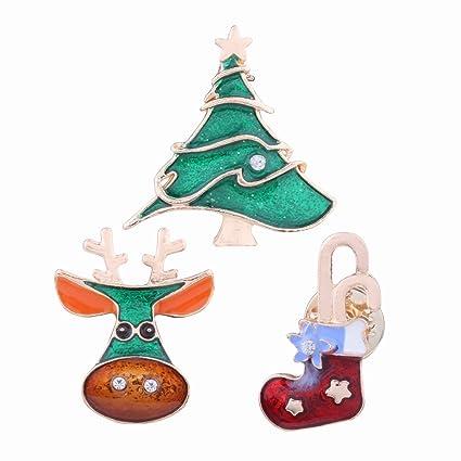 Adorno de Navidad Broche de Diamante Personalizado Árbol de Navidad Alces Calcetines Combinación de Navidad 3