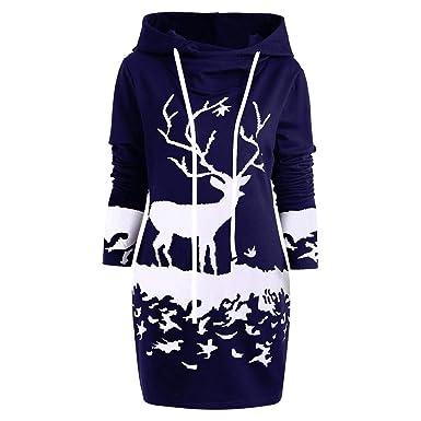 K-youth Vestido Navidad Mujer Manga Larga Ropa De Mujer Invierno Abrigos Casual Christmas Elk