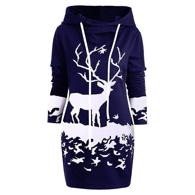 Mujer Sudaderas Vestido de suéter con Capucha de impresión de Navidad Hooded Blusa Tops Pullover Fiesta Vestir Dress Gusspower: Amazon.es: Ropa y accesorios