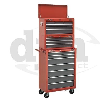 Rojo Sealey 16 armario con ruedas para armario para herramientas de ruedas caja de herramientas