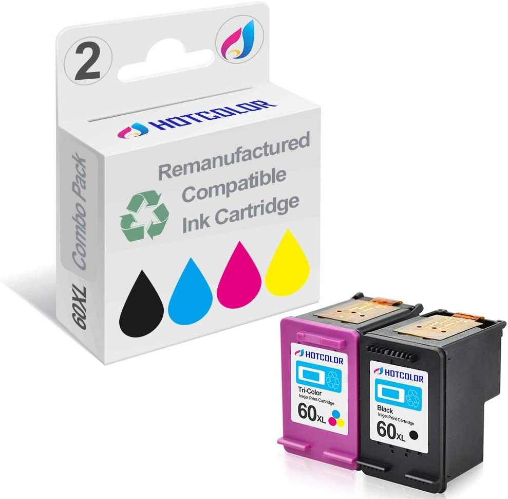 HOTCOLOR 2 Pack 60XL (Black/Color) Replacement for HP 60XL CC641WN CC644WN Ink Cartridge for HP Envy 100 110 111 114 120 HP Photosmart C4640 C4650 C4680 C4780 C4795 D110 Printer