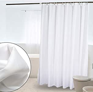 """crw White Fabric Shower Curtain Liner Mildew Resistant for Bathroom Polyester Curtains with Hooks, 72"""" x 72"""""""
