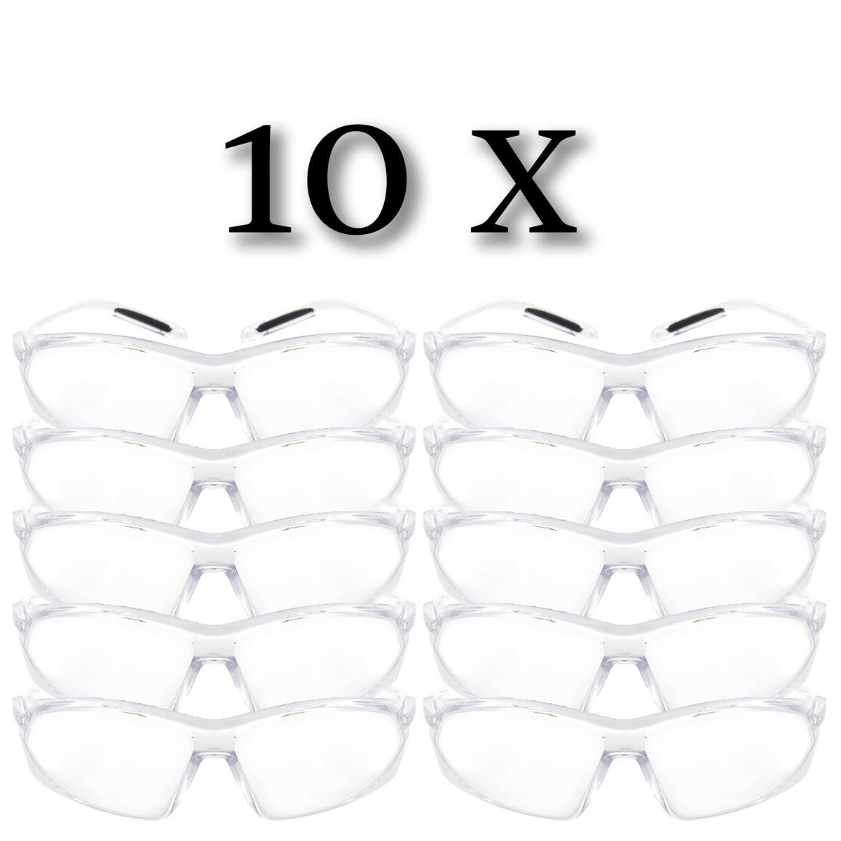 10-er Set Arbeitsschutzbrille Schutzbrille Laborbrille UV-Schutz Ü berbrille transparent bruchfest mit transparenten Bü rgeln Perdules