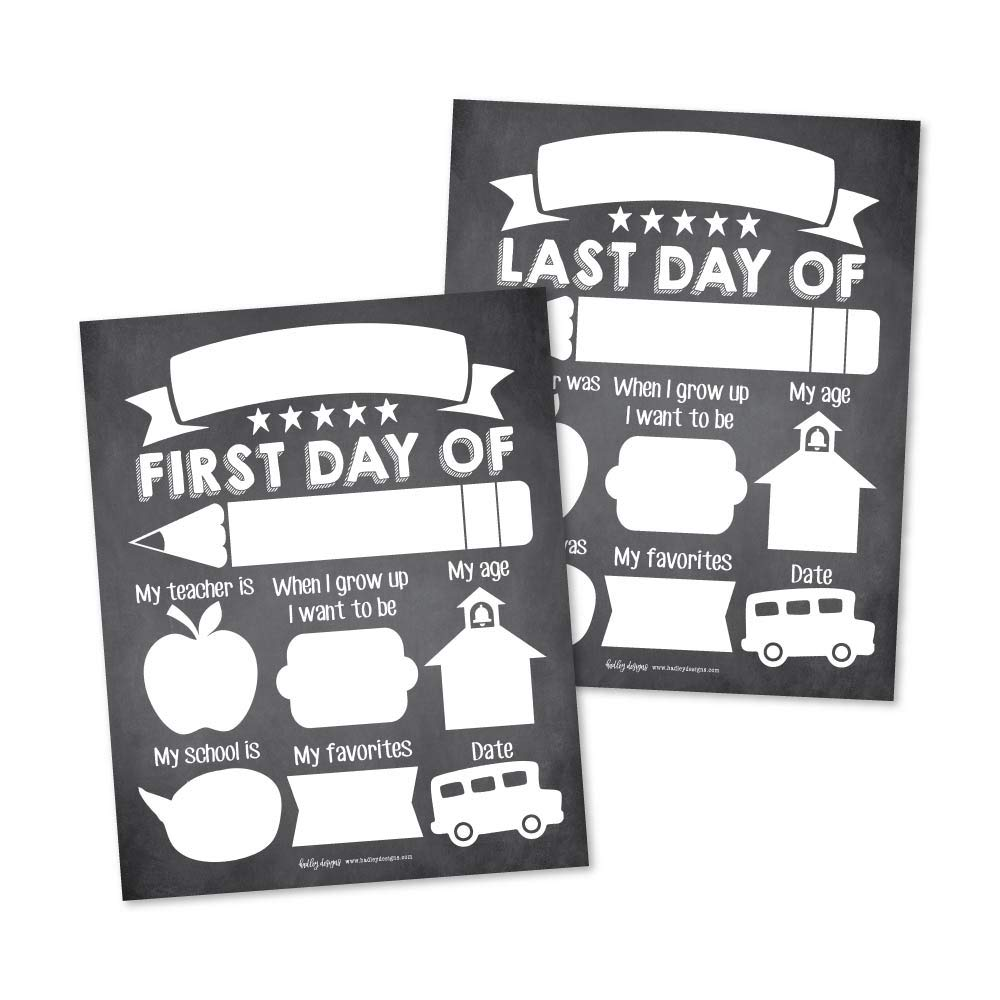 10 First and Last Day of School Interview Signs, Back Photo Booth Prop Chalkboard Style, 1st Preschool, Kindergarten, Pre K Grade Sign, Reusable Reversible Girl Boy Kid Child Year 8x10 Card Stock by Hadley Designs