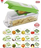 MIRAZ By Rock Group Of Companies ABS and Polycarbonate Vegetable Cutter and Chopper with 12 Blades and Peeler, Green