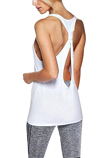 4bf50d9dc42d1 Mippo Women s Summer Sleeveless Backless Workout Shirt Scoop Halter Neck  Sexy Cut Out Cross Open Back