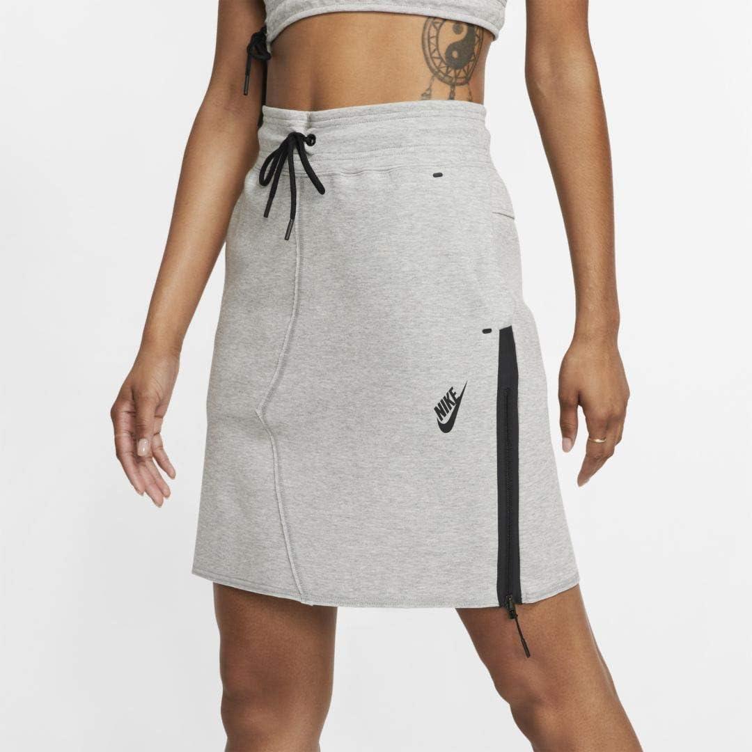 Nike Sportswear Tech Fleece Falda, Mujer, dk Grey Heather/Black, S ...