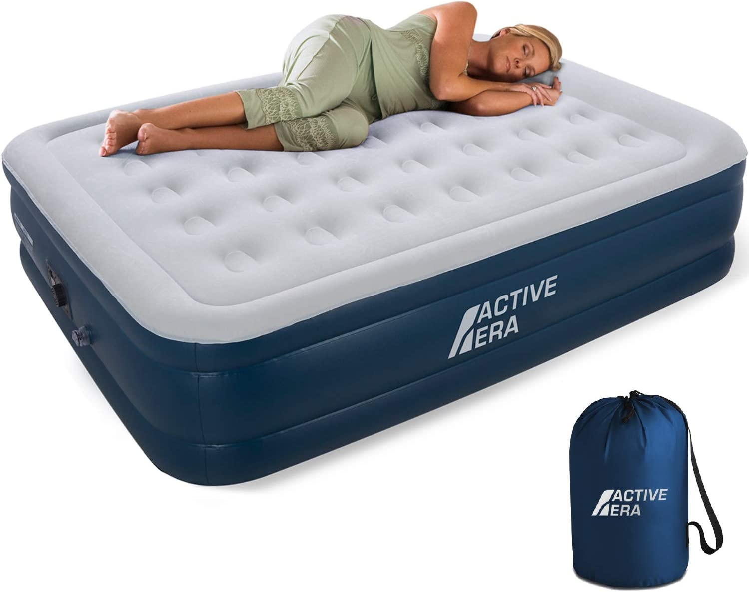 Active Era Queen Air Mattress with Built in Pump & Raised Pillow – Puncture Resistant with Waterproof Flocked Top, Elevated Inflatable Air Bed for Guests: Sports & Outdoors