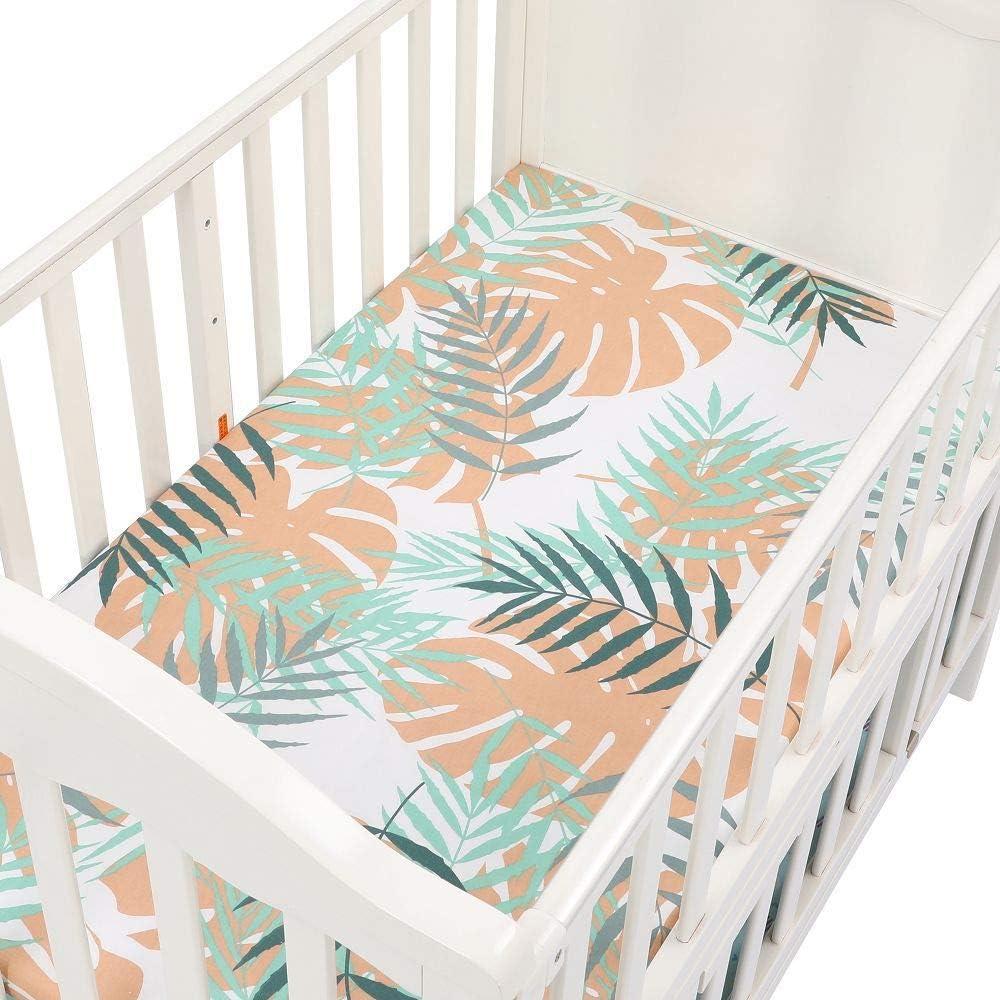 Leaf 047 Newborn Fitted Crib Sheet Super Soft Breathable Cartoon Crib Mattress Topper