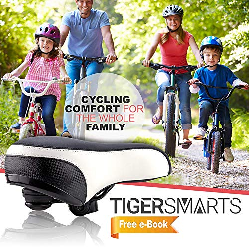 Bike Seat by TigerSmarts Replacement Padded Comfortable Bicycle Seat with Shock Absorbing Springs- Best Bike Saddle Cushion for Electric Bicycles,Mountain and Cruiser Bikes-Improves Riding Comfort by TigerSmarts (Image #1)