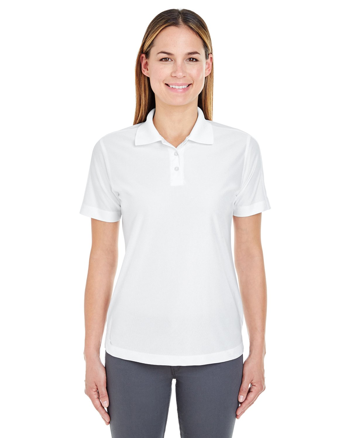 UltraClub Ladies' Cool & Dry Elite Polo Shirt, White, Medium. (Pack of 5) by UltraClub
