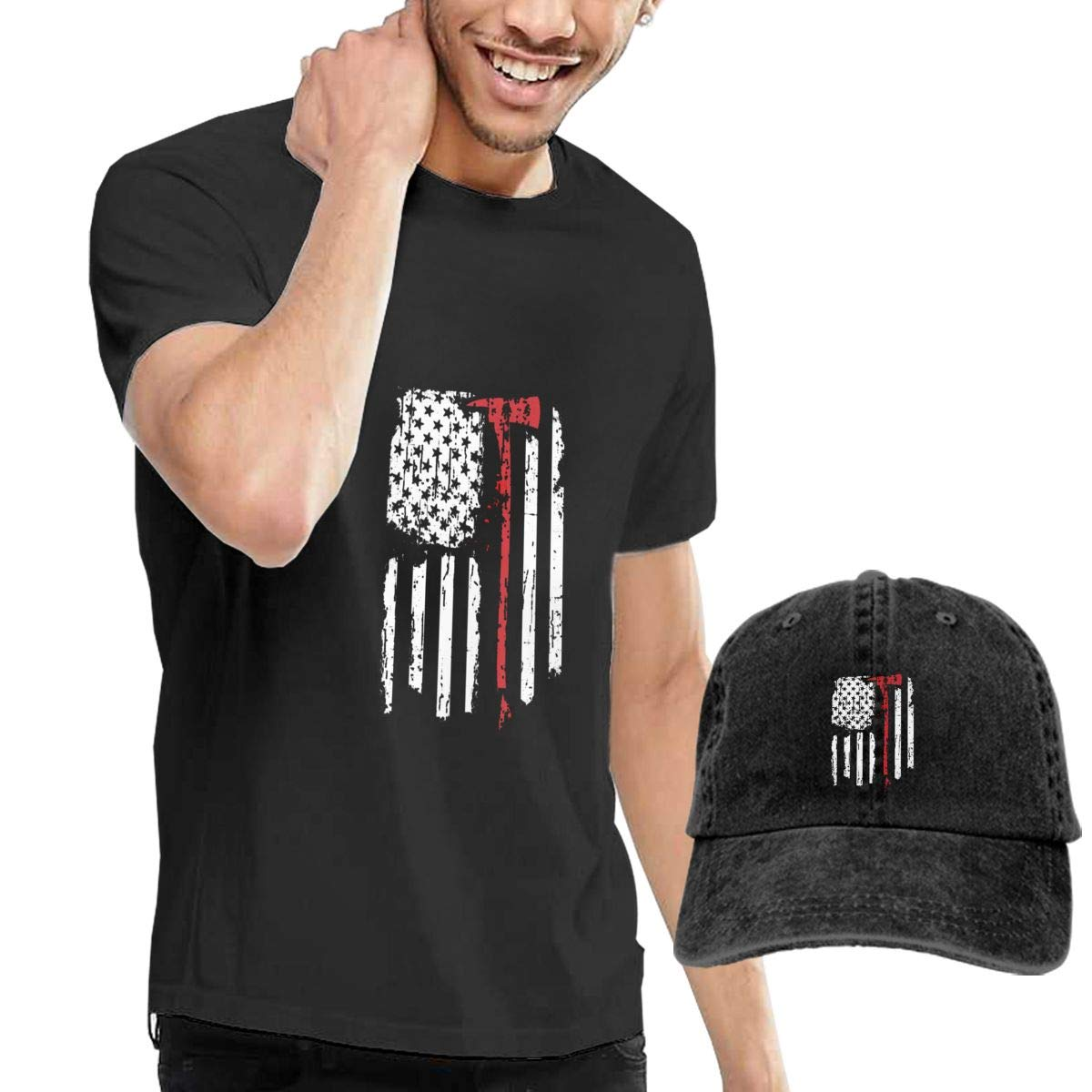 Amazon.com  Stazary Fighter American Flag Men s Black Crew Neck Short  Sleeve T-Shirt and Cowboy Cap  Clothing 6b9291086964