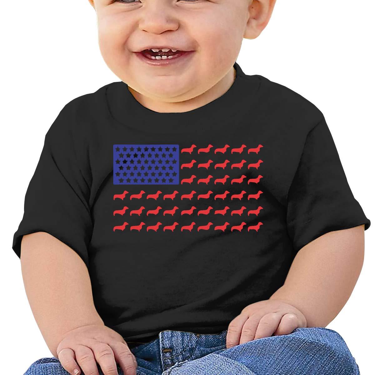 ZUGFGF-S3 Dachshund Dog American Flag Baby Boy Girl Newborn Short Sleeve T-Shirt 6-24 Month Cotton Tops