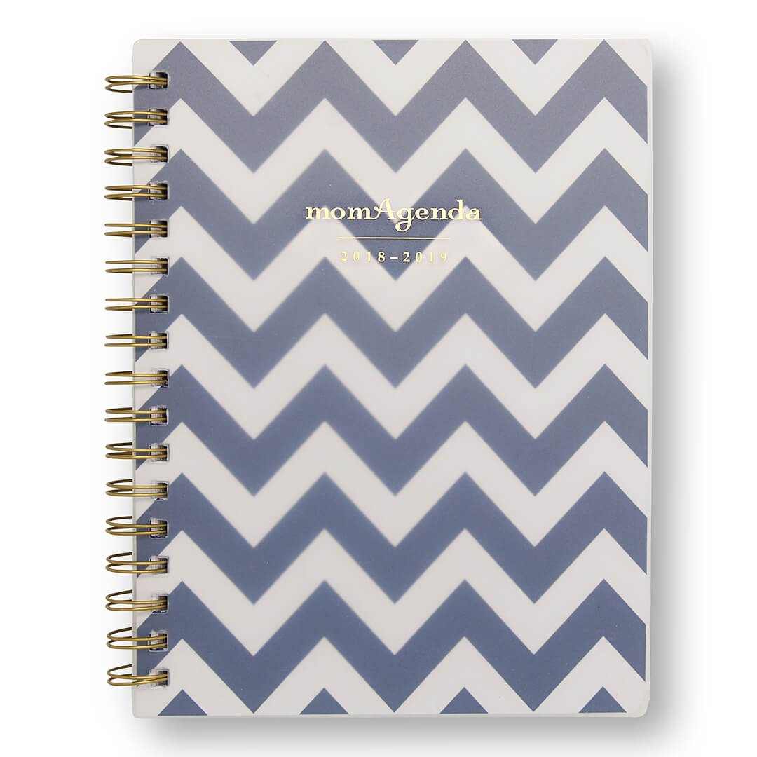 momAgenda Desktop Spiral Day Planner (August 2018 - December 2019) Organize Your Busy Life with The Convenient Week-at-A-View Layout. Quotes Included Each Week for Motivation (Navy Chevron)