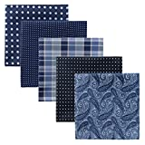 Retreez 5 Piece Assorted Woven Microfiber Premium Pocket Square Gift Box Set - Set 006