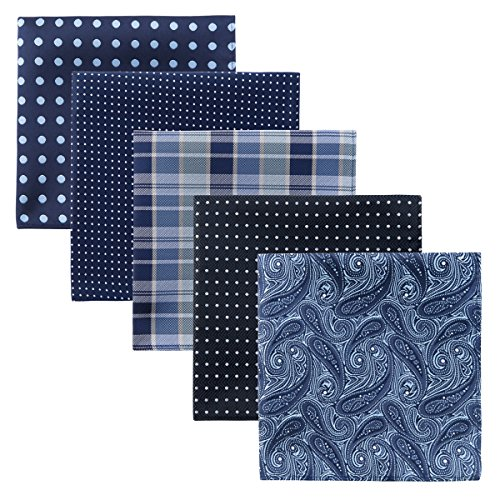 Retreez 5 Piece Assorted Woven Microfiber Premium Pocket Square Gift Box Set - Set 006