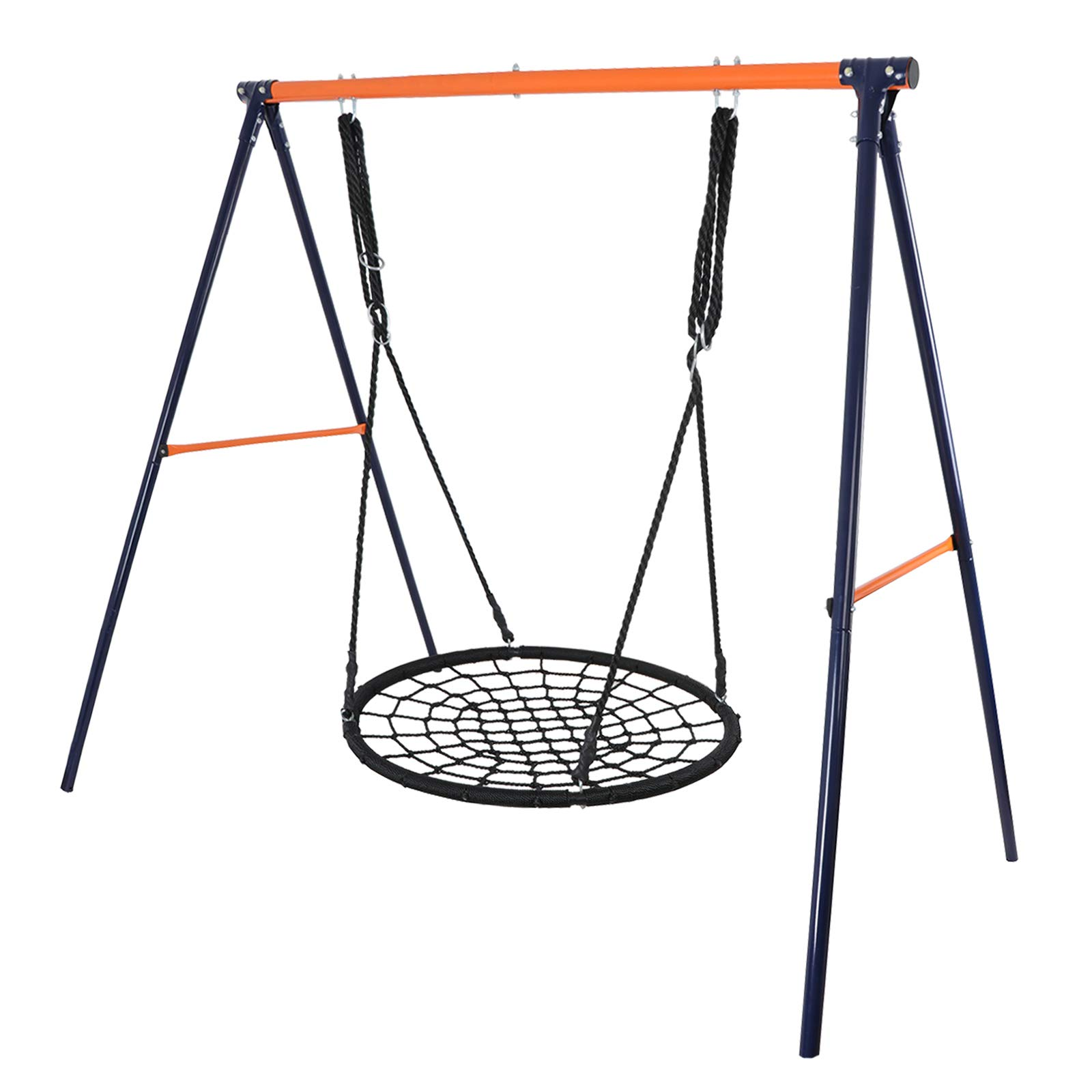 ZENY Swing Set - 24'' Spinner Web Tree Swing Nylon Rope + All Weather Steel A Swing Frame Stand,Great for Backyard Kids Play Fun