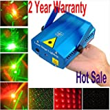 TSSS® Red & Green Mini Stage Light Lighting Projector Spotlight Sound/ Music Active DJ Equipment for Disco Club Pub Bar KTV Show Wedding Xmas Birthday Home Dance Party, 2 Years Warranty!!