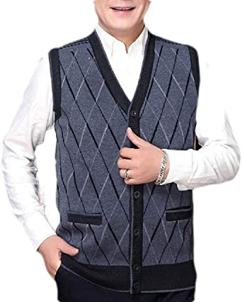BOTVELA Mens Casual Knit Sweater Vest V-Neck Button-Down Waistcoat with Pockets