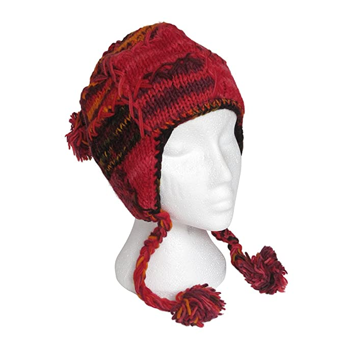 Funky Tejido a mano de lana estilo peruano gorro con orejeras Unisex peh12   Amazon.es  Ropa y accesorios 04c3d791634