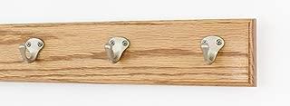 "product image for PegandRail Oak Coat Rack with Satin Nickel Single Style Hooks (Golden Oak, 15"" x 3.5"" with 3 Hooks)"