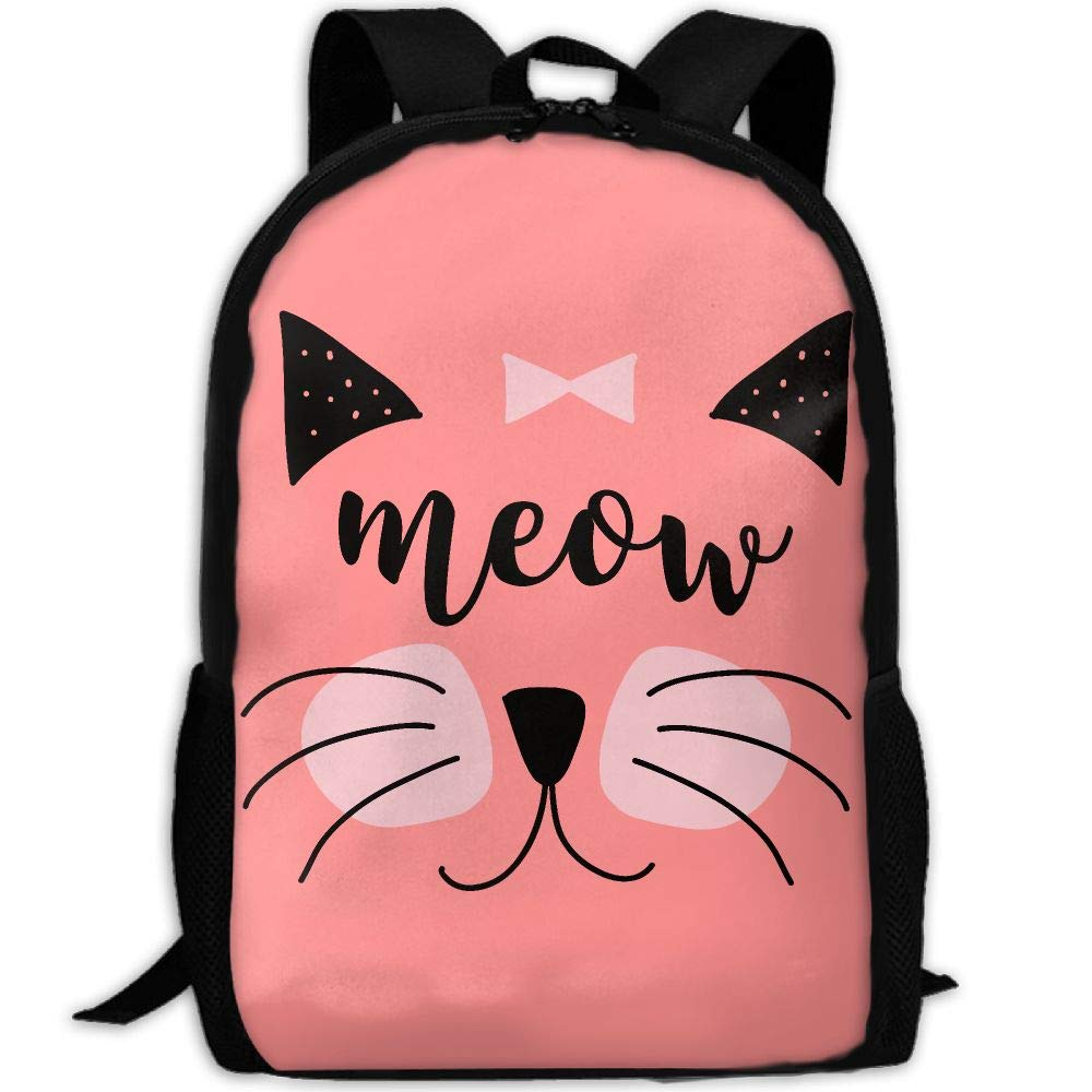 OIlXKV Cat Meow Print Custom Casual School Bag Backpack Multipurpose Travel Daypack For Adult