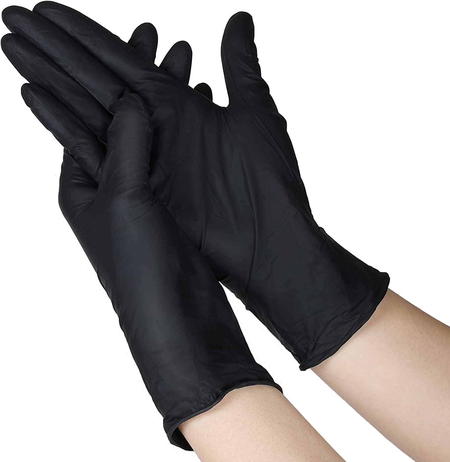100 Pcs Disposable Gloves - Nitrile and Vinyl Blend, Latex and Powder Free, Black Gloves