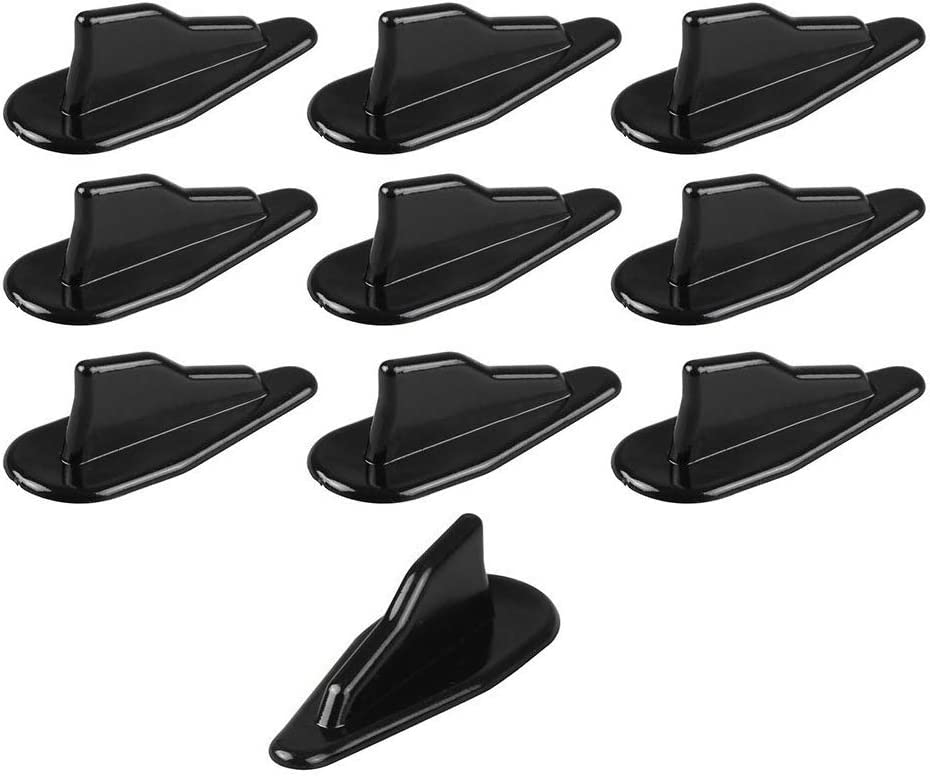 Tasan Racing Universal 10Pcs/Set ABS Car Roof Shark Fins Spoiler Wing Kit Air Vortex Generator Black