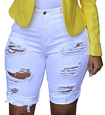 Jeans Femme Taille Haute Jean Short Été Chic A Trou Déchiré Denim Court  Pantalon Vintage Slim 28f38d3b7d1