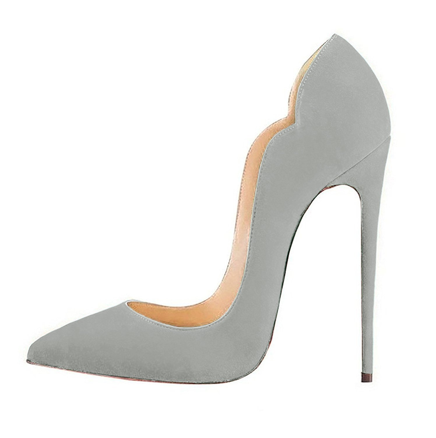 FSJ Women Classic Pointed Toe High Heels Sexy Stiletto Pumps Office Lady Dress Shoes Size 4-15 US B077SSCWLD 4 B(M) US|Grey-suede
